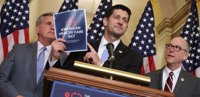 Speaker of the House Paul Ryan holds up a copy of the American Health Care Act during a news conference with House Majority Leader Kevin McCarthy R-Calif., (left) and House Energy and Commerce Committee Chairman Greg Walden (R-Ore.) outside Ryan's office in the U.S. Capitol on March 7.