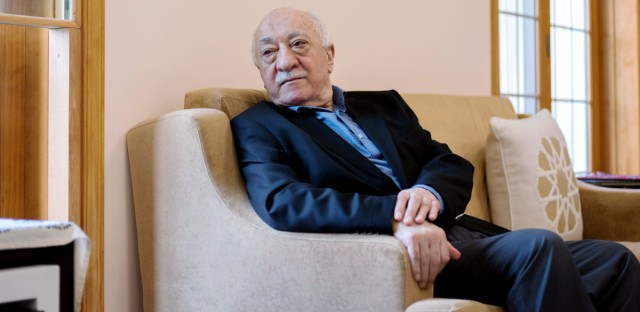 Fethullah Gulen sits in a room at his compound in Saylorsburg, Pennsylvania. He has lived in exile in the United States since the late 1990s. Turkish President Recep Tayyip Erdogan blames Gulen for last year's failed coup and is seeking his extradition. (Bryan Thomas for NPR)