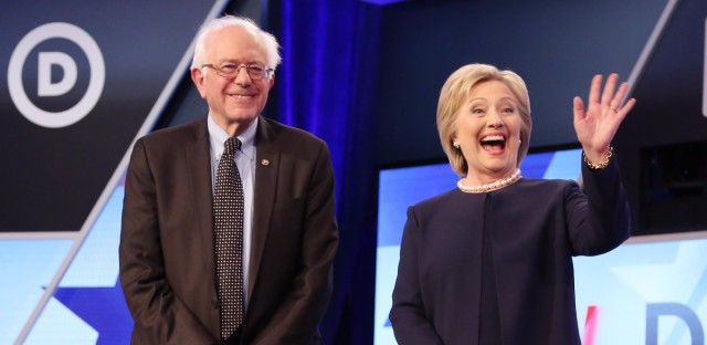 Democratic presidential candidates Bernie Sanders and Hillary Clinton at the Univision Democratic debate in Miami. Alexander Tamargo/Getty Images Listen to the NPR Politics Podcast 40:26 Playlist Embed