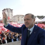 "Turkish President Recep Tayyip Erdogan addresses supporters Friday in the southern province of Hatay. Erdogan says the U.S. missile strike on a Syrian air base is a ""concrete step"" but argues that it's not enough."