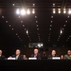 Left to right, Acting FBI Director Andrew McCabe, Central Intelligence Agency Director Mike Pompeo, Director of National Intelligence Daniel Coats, National Security Agency Director Adm. Michael Rogers, Defense Intelligence Agency Director Lt. Gen. Vincent Stewart and National Geospatial-Intelligence Agency Director Robert Cardillo testifiy before the Senate Intelligence Committee.