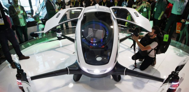 The EHang 184 autonomous aerial vehicle is unveiled at the EHang booth at CES International in January in Las Vegas. The drone is large enough to fit a human passenger.