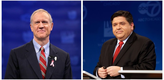 Republican Gov. Bruce Rauner (pictured at left before the final gubernatorial debate in 2014) and his Democratic challenger J.B. Pritzker (seen at right before a Democratic primary debate in March 2018) participated Wednesday in the second debate before the November 2018 election for Illinois governor.