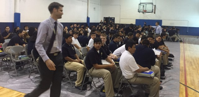 Students at an assembly at Noble's Mansueto High School.