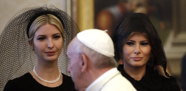 President Trump's daughter Ivanka and wife, Melania, both covered their hair when meeting with Pope Francis on Wednesday at the Vatican.