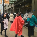 City Colleges of Chicago clerical workers rally Wednesday in the Loop after going on strike.