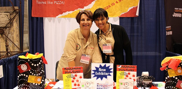 Pizza Candy lady Rita DiCarlo and friend at Sweets & Snacks Expo in Chicago