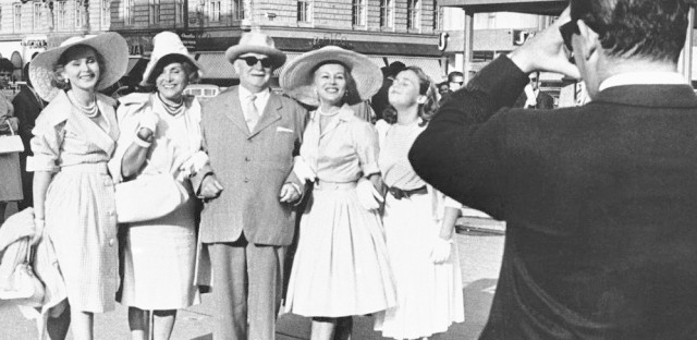 Gabor (left) and her daughter Francesca Hilton (right) flank Gabor's parents, Vilmos and Jolie, and sister Eva as they pose for a photo during a 1960 family reunion in Vienna.