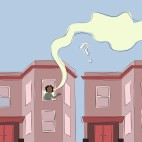 An illustration of Chicago two flat buildings. In one window a person is leaning out smoking weed.