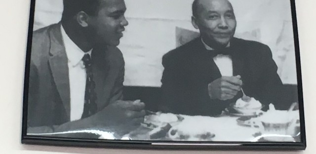 Muhammad Ali with his spiritual mentor the Honorable Elijah Muhammad, leader of the Nation of Islam.