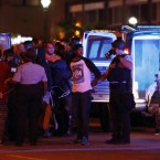 Police in St. Louis arrested more than 80 people in demonstrations on Sunday night. Jeff Roberson/AP