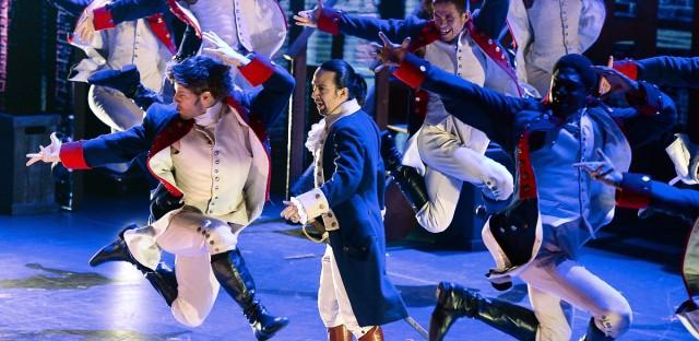 "Actor Lin- Manuel Miranda, center, of ""Hamilton"" performs at the Tony Awards at the Beacon Theatre on Sunday, June 12, 2016, in New York."