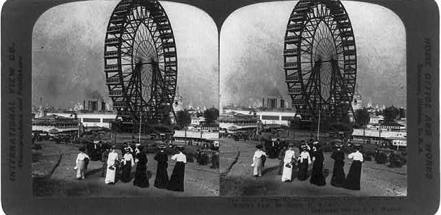 The first Ferris Wheel, erected for the 1893 World's Columbian Exhibition in Chicago, was just one of many diversions available to fairgoers.