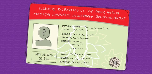 An illustration of an Illinois medical marijuana registration card