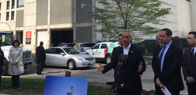 Mayor Rahm Emanuel announces in May 2016 the construction of Vista Tower, a 95-story building that would be the third tallest building in Chicago.