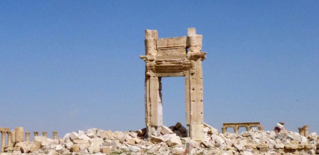 A general view shows the remains of the entrance to the iconic Temple of Bel this week after Syrian government troops recaptured the UNESCO world heritage site from ISIS militants.