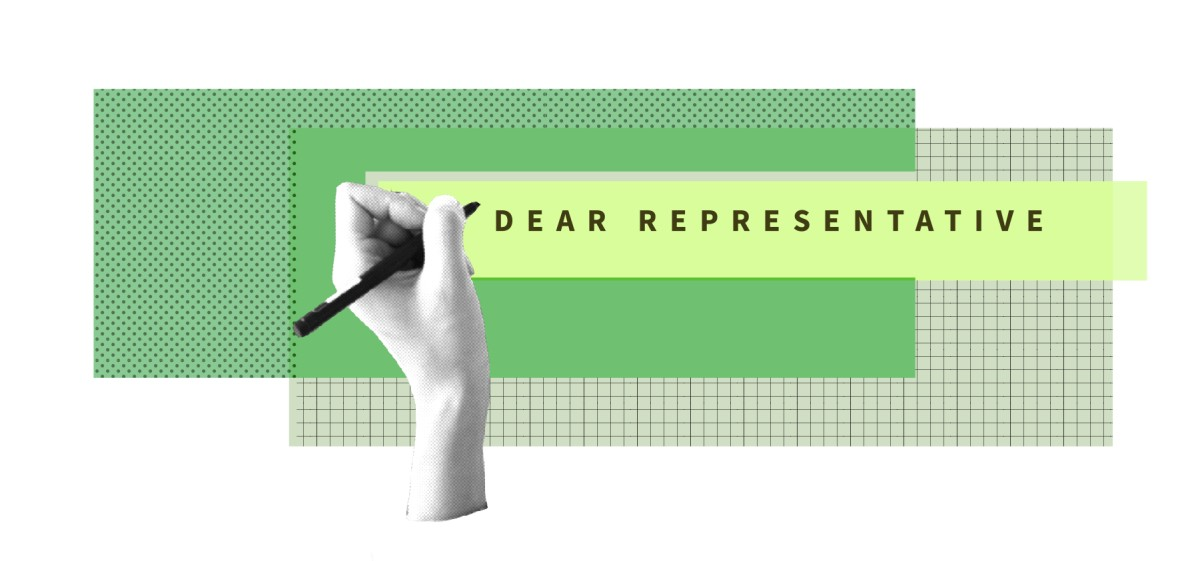 A hand writing 'Dear Representative'