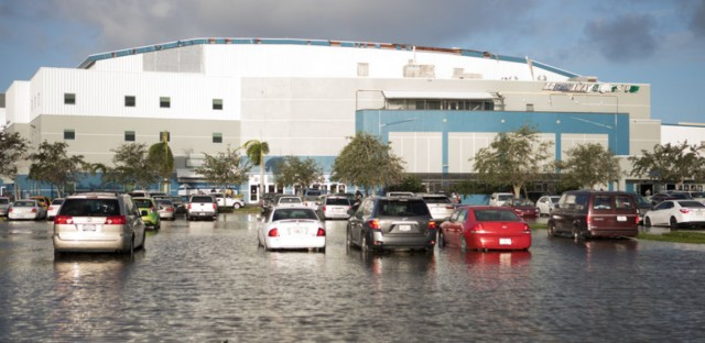 Flooding outside the Germain Arena in Estero, Fla., where some 5,000 people sought shelter from Hurricane Irma.