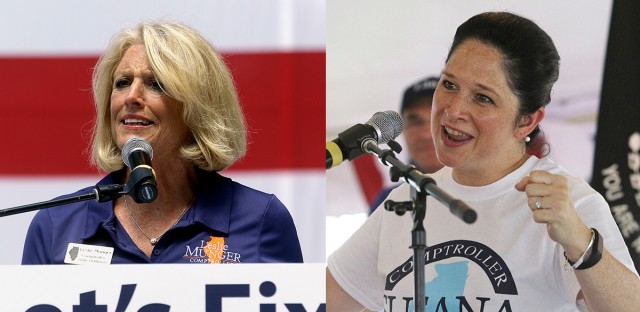 Leslie Munger (left) and Susana Mendoza (right) are the Republican and Democratic candidates for Illinois state comptroller, respectively. Both say they'll hold politicians accountable for passing a budget for the state.