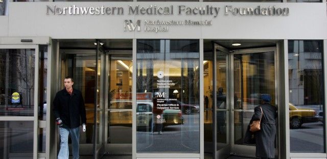 The entrance to Northwestern Memorial Hospital in Chicago is seen on Nov. 16, 2007.