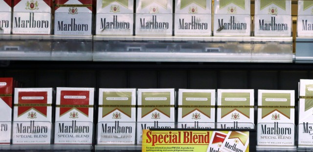 Varieties of Marlboro cigarettes appear on display at a store in Little Rock, Ark.