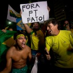 Anti-government demonstrators celebrate after the lower house of Congress voted to impeach Brazil's President Dilma Rousseff, on Copacabana beach in Rio de Janeiro, Brazil.