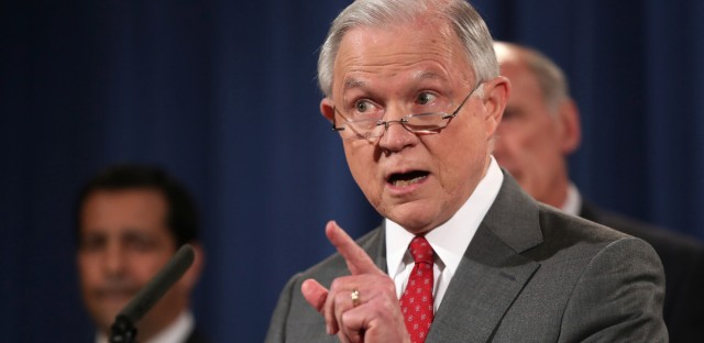 U.S. Attorney General Jeff Sessions, speaks at a news conference at the Justice Department in Washington. U.S.