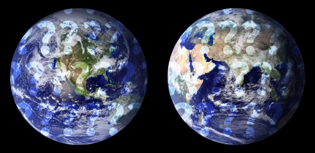 Image of the earth from space from two angles, with question marks overlay
