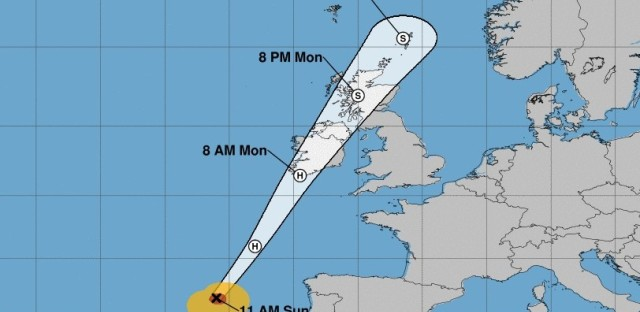 By the latest estimates from the National Hurricane Center in the U.S., Ophelia is likely to make landfall in Ireland on Monday morning.
