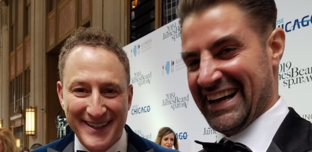 Rob Katz, left, and Kevin Boehm of Chicago-based Boka Restaurant Group won the award for Outstanding Restaurateur at the national James Beard Awards at the Civic Opera House on Monday night.