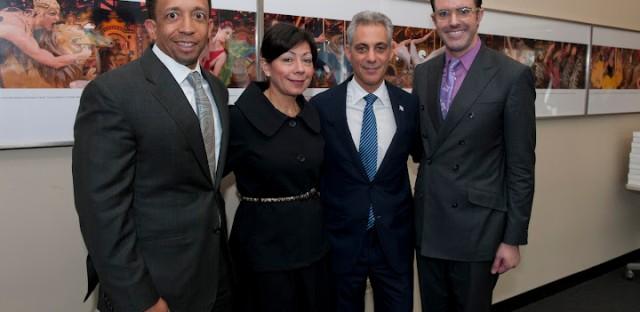 Joffrey Ballet Board Chair Jason Tyler, wife Yolanda, Mayor Rahm Emanuel, and Joffrey Exec Director Christopher Clinton Conway.