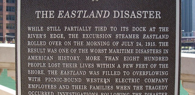 The Eastland Disaster Commemorative sign along the Chicago River.