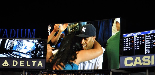 A proposal at a Yankees vs. Twins game in 2010.