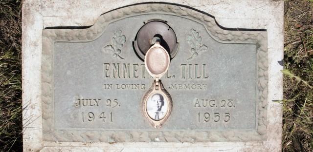 A plaque marks Emmett Till's grave site in Aslip, Ill.