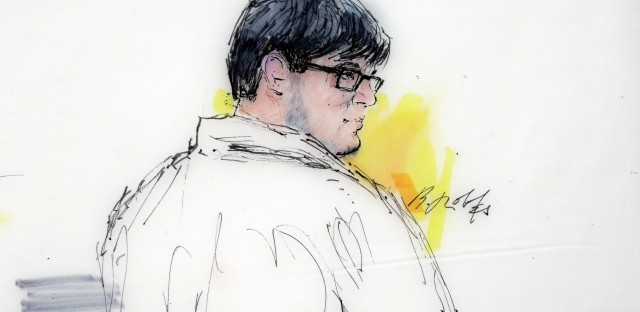In this Dec. 21, 2015, courtroom sketch, Enrique Marquez Jr. appears in federal court in Riverside, Calif. On Tuesday, Marquez admitted that his friend Syed Rizwan Farook paid him for the assault-style weapons used to kill 14 people in a terrorist attack in San Bernardino, Calif.