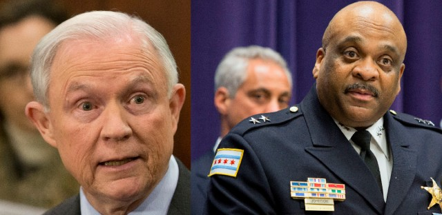 U.S. Attorney General Jeff Sessions and Chicago Police Superintendent Eddie Johnson