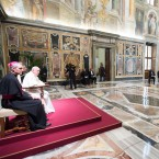 Pope Francis listens to President of Nauru Baron Waqa on the occasion of his meeting with a delegation of Pacific leaders in the Clementine Hall, at the Vatican, Saturday, Nov. 11, 2017. Francis met with a delegation of Pacific leaders and told them he shares their concerns about rising sea levels and increasingly intense storms that are threatening their small islands.