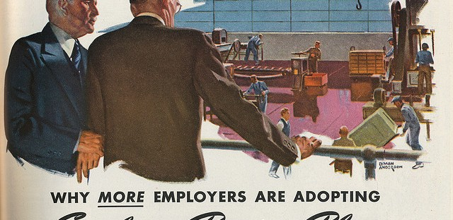 The Chicago Teachers' Pension Fund had no need to make ads like this persuading employees to choose pensions, as their own system pre-dated Social Security.