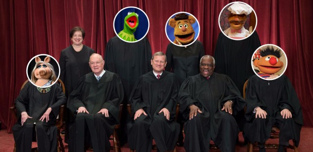 'Nerdette' host Tricia Bobeda asked 'Slate' reporter Dahlia Lithwick to assign each Supreme Court justice with a corresponding Muppet. The results are absurd.   (Illustration: Paula Friedrich/WBEZ, Supreme Court photo: J. Scott Applewhite/AP, Muppet photos from left: Richard Shotwell/Invision/AP, Jacquelyn Martin/AP, Richard Drew/AP, Jacquelyn Martin/AP, Beth A. Keiser/AP)