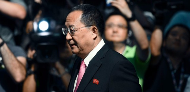 North Korean Foreign Minister Ri Yong Ho leaves his hotel in New York on Sept. 25, 2017. Ri says that President Donald Trump has declared war on North Korea — and that the country can now defend itself under international law.