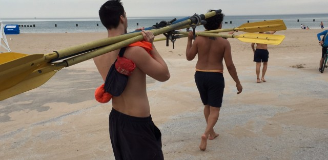 Chicago park district lifeguards get boats in the water at North Avenue Beach. Millions of swimmers are expected to hit Chicago's 26 lakefront beaches this season.