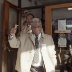 Chicago Mayor Harold Washington gives the thumbs up to reporters on Tuesday, Apr. 7, 1987 in Chicago after voting in the Chicago general election. Washington is trying for his second term.