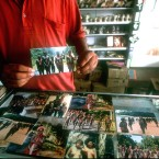 A souvenir shop on the Andaman Islands sells pictures of the Jarawa and other tribes in the islands.