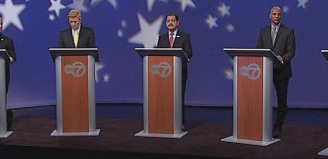 Candidates for Chicago Mayor in an ABC debate televised ahead of the 2015 municipal election.