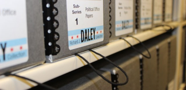 Shelves at UIC's new Richard J. Daley collection. The archive includes papers, memorabilia and personal items from his two-plus decades as Chicago's mayor.
