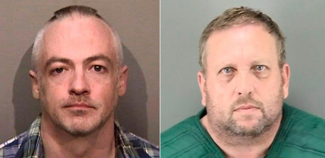 Wyndham Lathem, left, and Andrew Warren, right, seen in photos released by the Alameda County, CA Sherrif's Office and the San Francisco Police Department, respectively. Lathem is an associate professor of microbiology at Northwestern University and Warren is an employee of the University of Oxford in Britain. Both were jailed in the San Francisco area in connection with the death of a young hairdresser in Chicago, police said.
