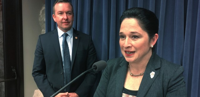 Illinois state Comptroller Susana Mendoza speaks to reporters at the state Capitol in Springfield Wednesday, Nov. 8, 2017.