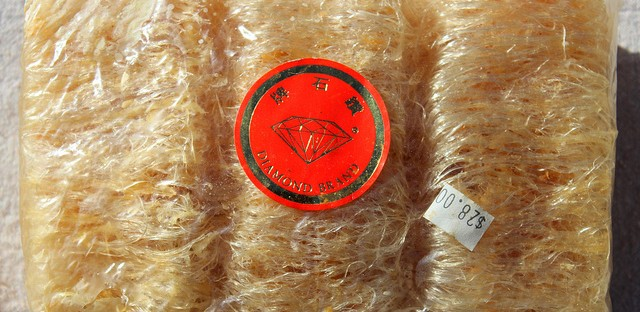 Antique package of dried shark fin