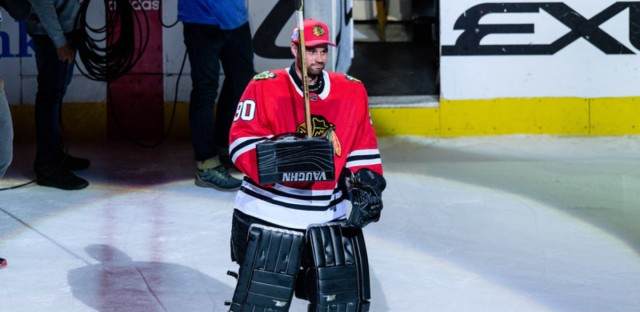 Scott Foster, an accountant who plays in an amateur recreational hockey league, was suddenly called in as an emergency backup goalie for the Chicago Blackhawks on Thursday night. Icon Sportswire/Icon Sportswire via Getty Images