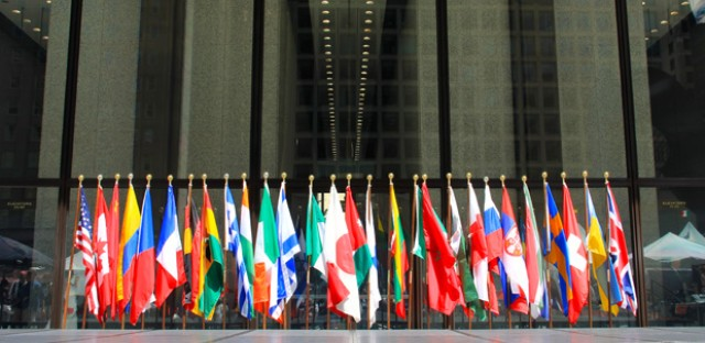 Flags representing Chicago's sister cities on display at Daley Plaza in 2013.